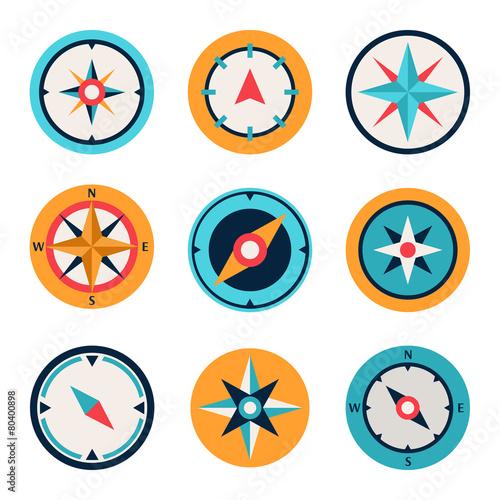 Wind rose compass flat vector symbols set - 80400898