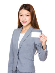 Asian girl holding a white card