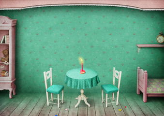 Vintage pastel background children's room with  celebratory cake