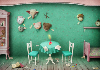 Vintage pastel background with toys and children's room
