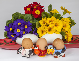 Chicken and goose eggs, cow shaped egg cups and flowers