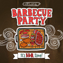 Bbq Grill Party Poster