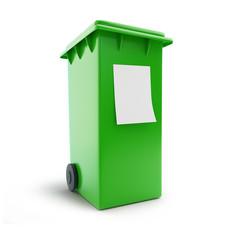 trash can waste sorting four green wheeled bin