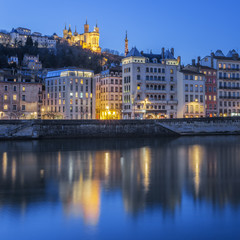 Lyon with Saone river by night