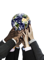 Business people holding the world