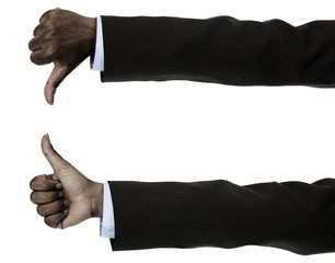 African businesswoman with thumbs up and down gesture