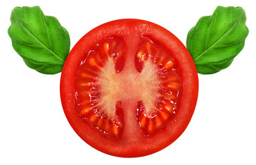Fresh red tomato and basil leaves on isolated backround