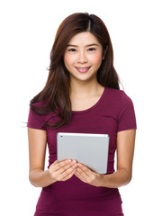 Woman holding tablet compute