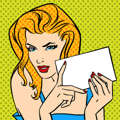 girl with  letter Pop art angry vintage comic