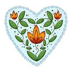 Heart with leaves and flowers.