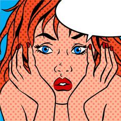 girl shocked Pop art vintage comic