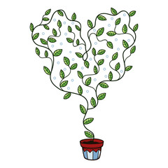 Heart with leaves growing in a pot.