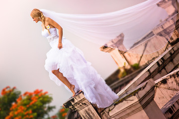 bride wearing in beautiful dress and veil