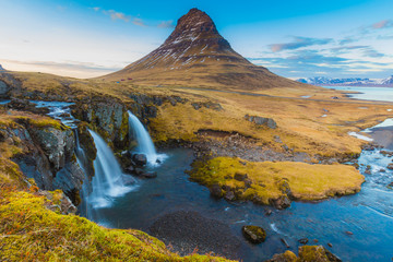 Water falls at Kirkjufell mountain,Iceland