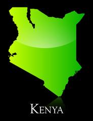 Kenya green shiny map