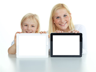 Two girls with tablet pc