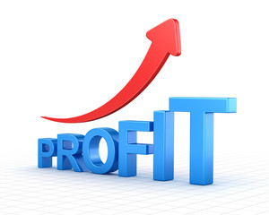Profit text chart and arrow moving up