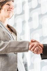 Smiling businesswoman shaking hands