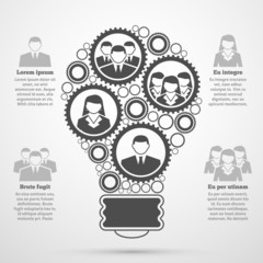 Business team composition bulb infographic