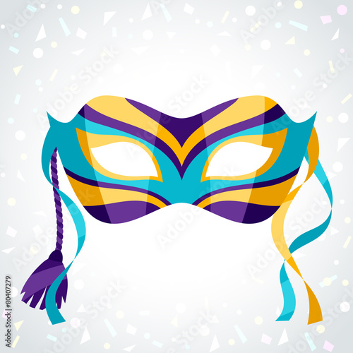 Festive carnival mask on background of confetti - 80407279