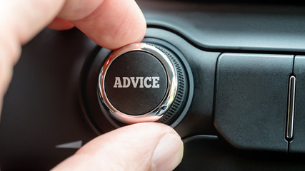 Man turning on an advice button