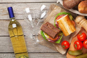 Sandwiches and white wine