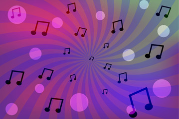 Abstract color background with music sheets