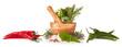 Leinwanddruck Bild - Wooden mortar with herbs on white background