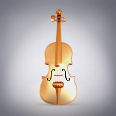 Traditional  golden violin  on grey background.