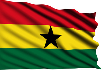 Ghana flag with fabric structure