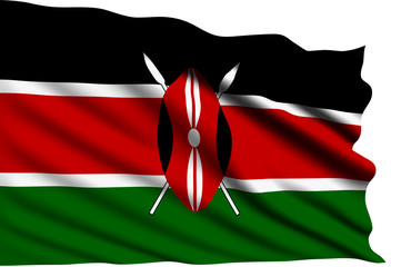 Kenya flag with fabric structure