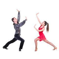Latino dancers posing. Isolated.