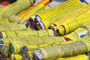 Buddhist Tibetan prayer flags rolled into a roll, Kathmandu, Nep