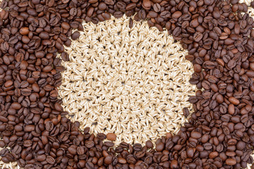 coffee beans on straw braided