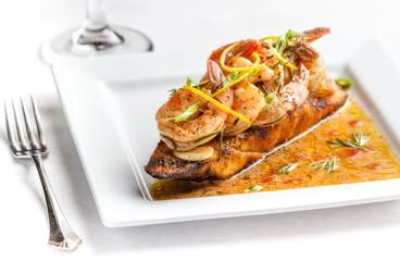Shrimp on crusty bread