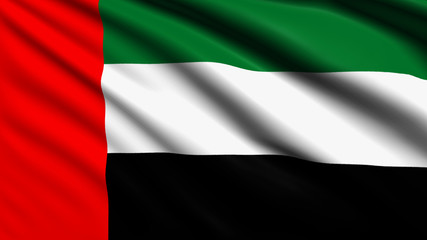 United Arab Emirates flag with fabric structure