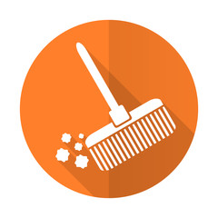 broom orange flat icon clean sign