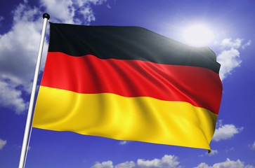 Germany flag with fabric structure against a cloudy sky