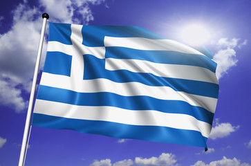 Greece flag with fabric structure against a cloudy sky