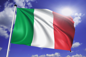 Italy flag with fabric structure against a cloudy sky