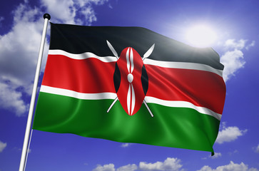 Kenya flag with fabric structure against a cloudy sky