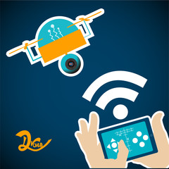 yellow drone controlled by a tablet over blue color background
