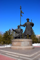 Monument to the first Kazakh khans Kerey and Zhanibek in Astana