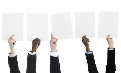 People holding blank billboards