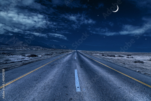 Fototapeta road under the moon