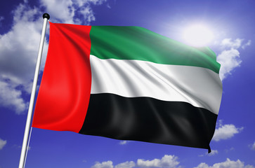 United Arab Emirates flag with fabric structure against sky