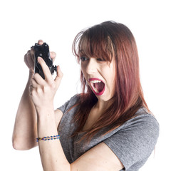 Young Woman Holding Video Game Joysticks