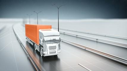 Orange cargo truck on a highway front view looping animation