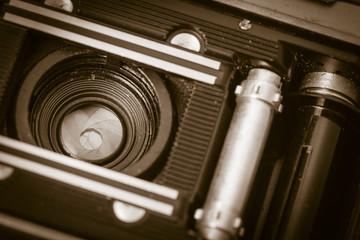Inside of old fashioned retro camera