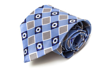 blue tie coiled